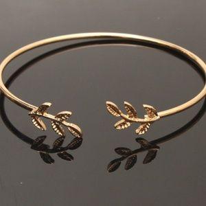 Gold Leaf Bangle Bracelet